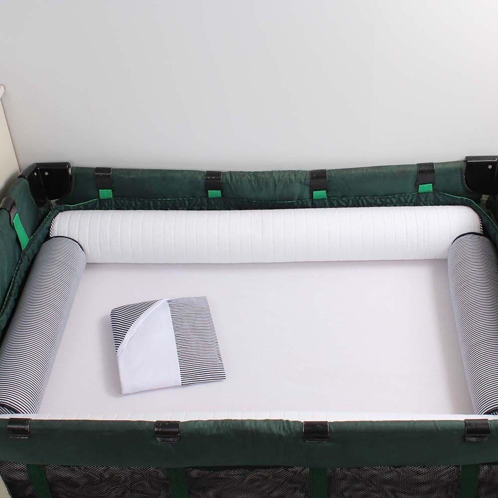 Kit de Berço Desmontável 07 Peças Listrado de Marinho com Branco  - Toca do Bebê