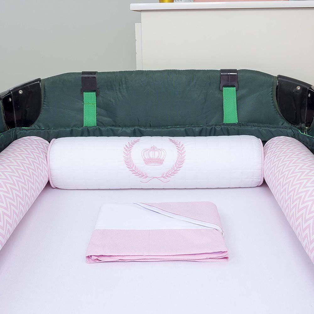 Kit de Berço Desmontável 07 Peças Majestade Rosa  - Toca do Bebê