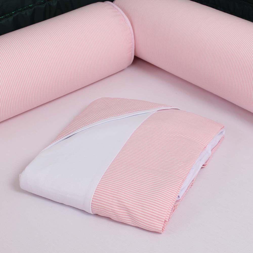Kit de Berço Desmontável 07 Peças Rosa Listrado  - Toca do Bebê