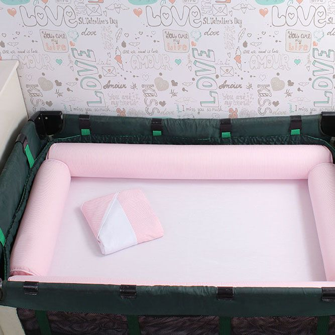 Kit de Berço Desmontável 07 Peças Rosa Listrado