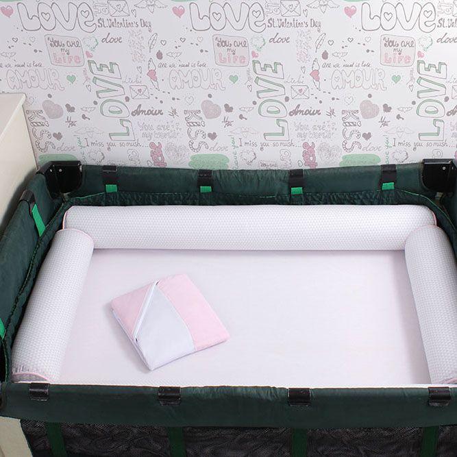 Kit de Berço Desmontável 07 Peças Triângulo Cinza com Rosa