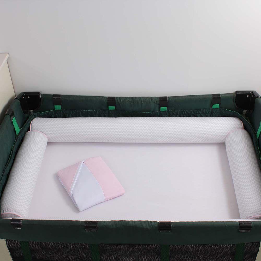 Kit de Berço Desmontável 07 Peças Triângulo Cinza com Rosa  - Toca do Bebê