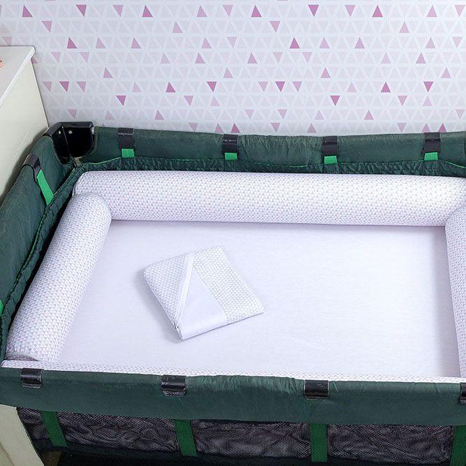 Kit de Berço Desmontável 07 Peças Triângulo Cinza e Rosa