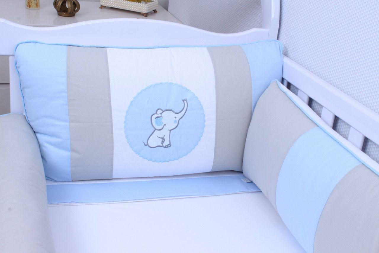 Kit de Berço Elefantinho Azul 09 Peças