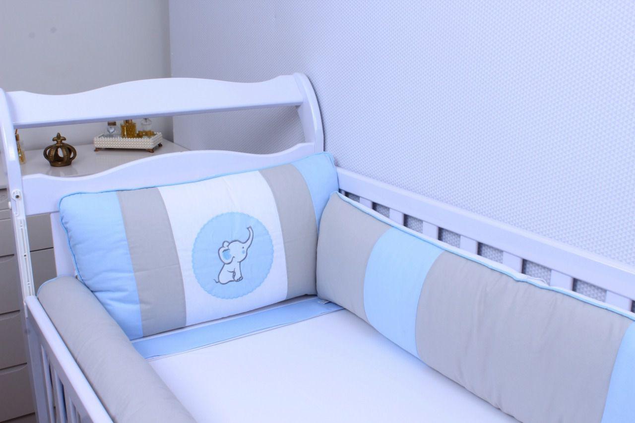 Kit de Berço Elefantinho Azul 09 Peças  - Toca do Bebê