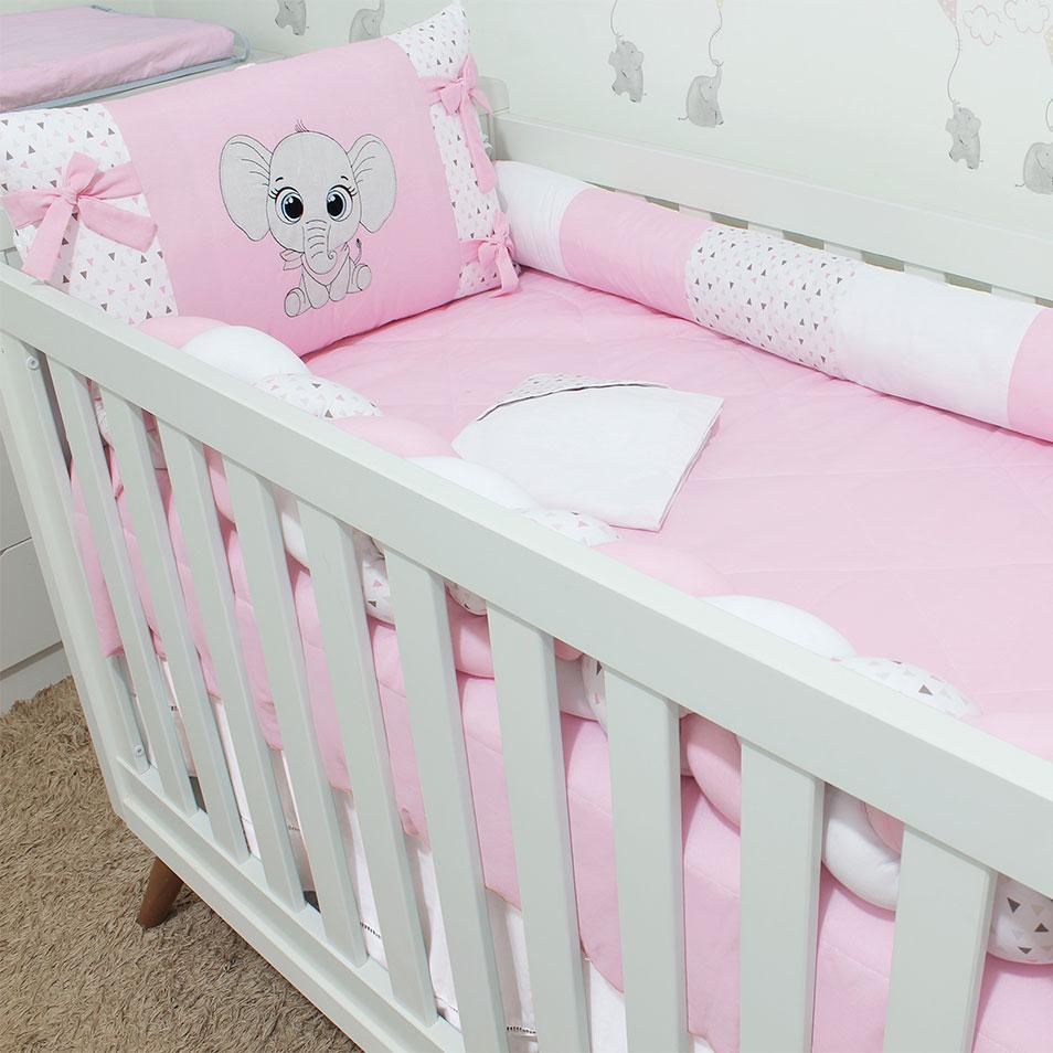 Kit de Berço Elefantinho Rosa 08 Peças   - Toca do Bebê