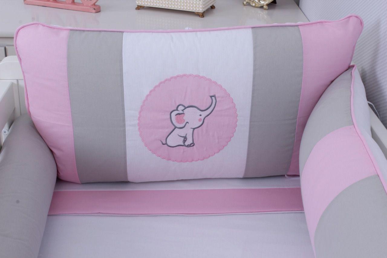 Kit de Berço Elefantinho Rosa 09 Peças  - Toca do Bebê