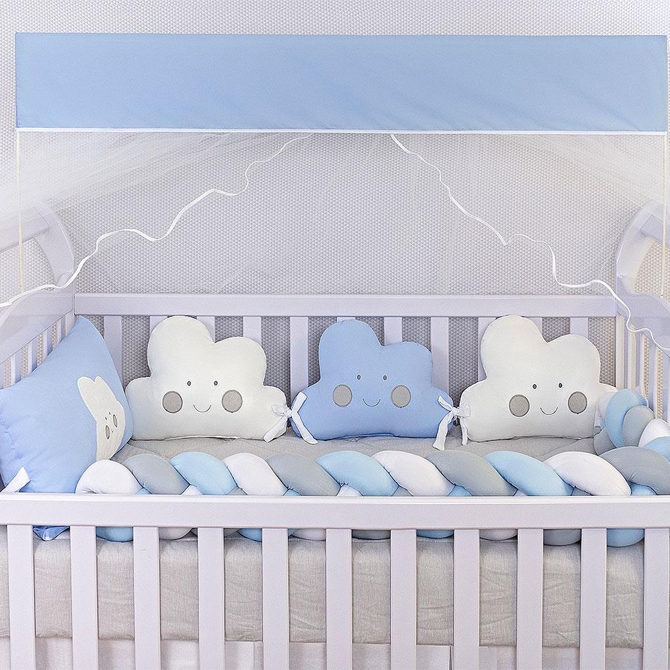 Kit de Berço Formato Nuvem Azul Bebê 10 Peças