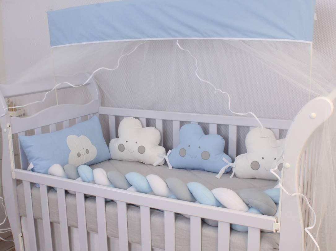 Kit de Berço Formato Nuvem Azul Bebê 10 Peças   - Toca do Bebê