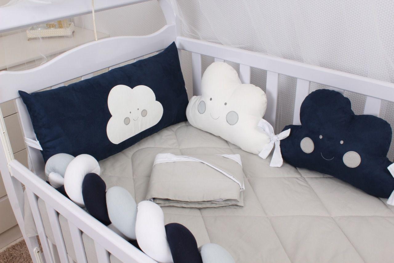 Kit de Berço Formato Nuvem Marinho 10 Peças   - Toca do Bebê