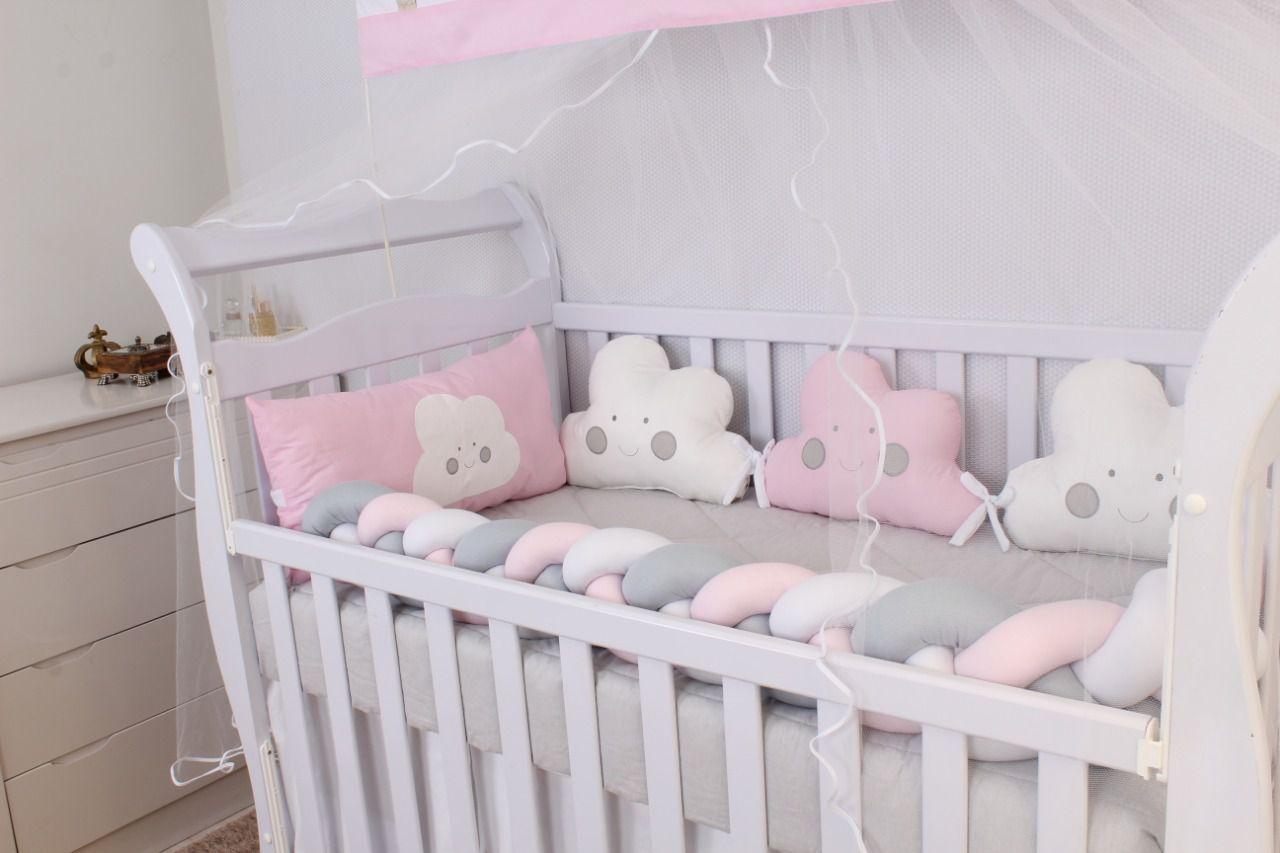 Kit de Berço Formato Nuvem Rosa 10 Peças   - Toca do Bebê