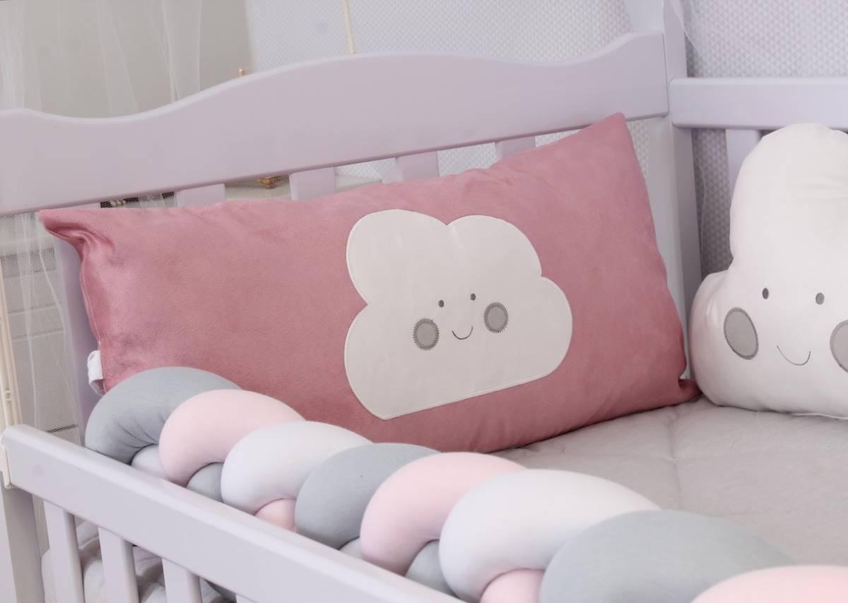 Kit de Berço Formato Nuvem Rosê 10 Peças   - Toca do Bebê
