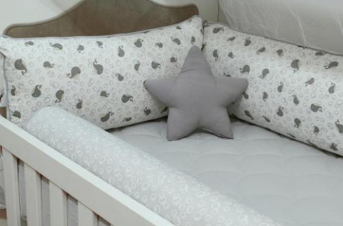 Kit de Berço Gray Whale 10 Peças  - Toca do Bebê