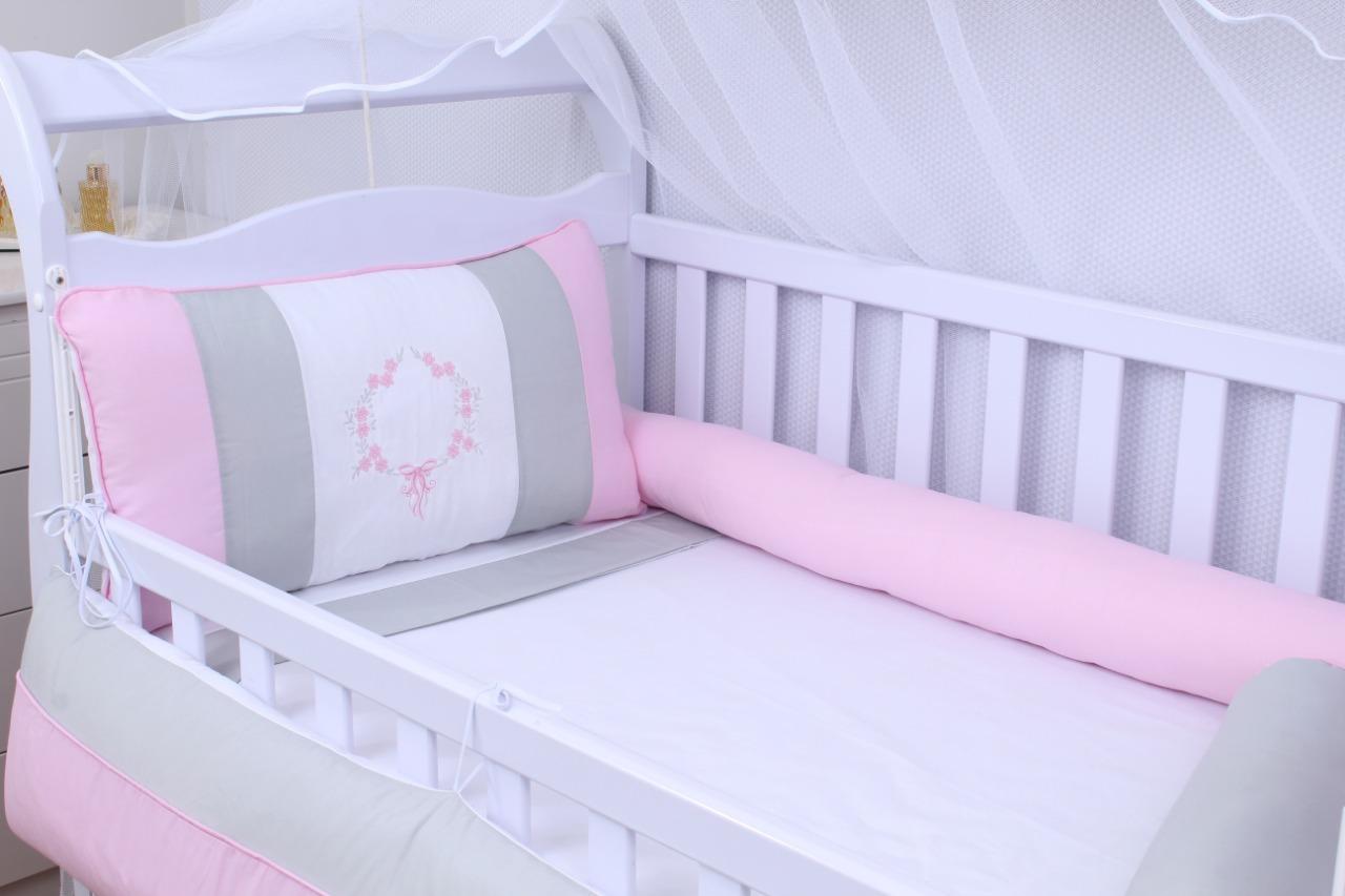 Kit de Berço Guirlanda de Flores 08 Peças  - Toca do Bebê