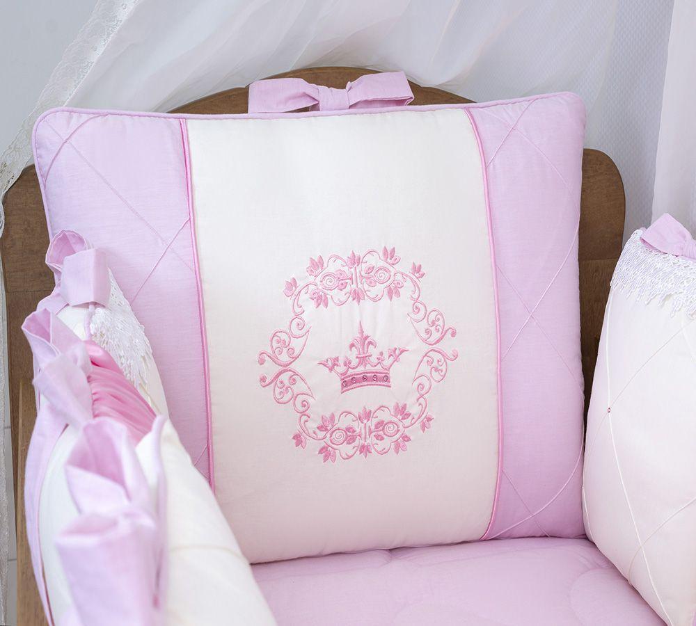 Kit de Berço Luxo Rosa 14 Peças  - Toca do Bebê