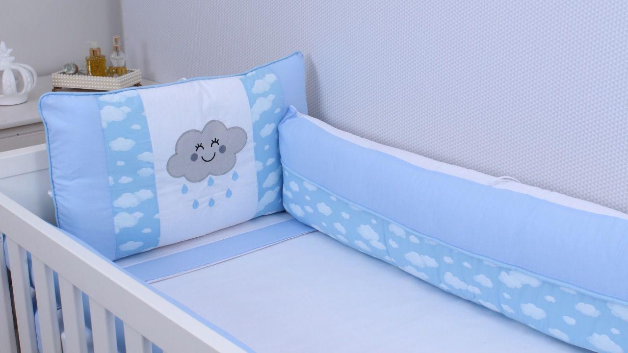 Kit de Berço Nuvem Azul 09 Peças