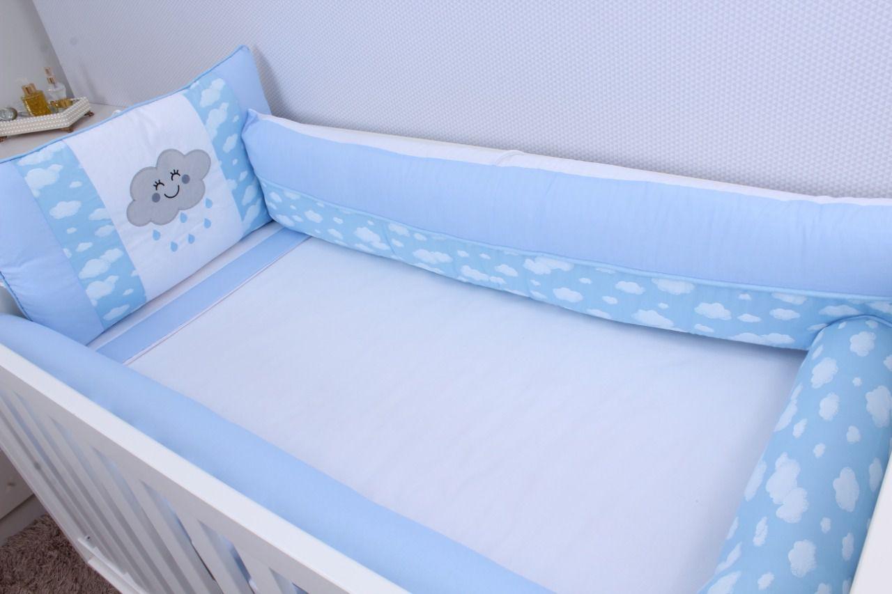 Kit de Berço Nuvem Azul 09 Peças   - Toca do Bebê