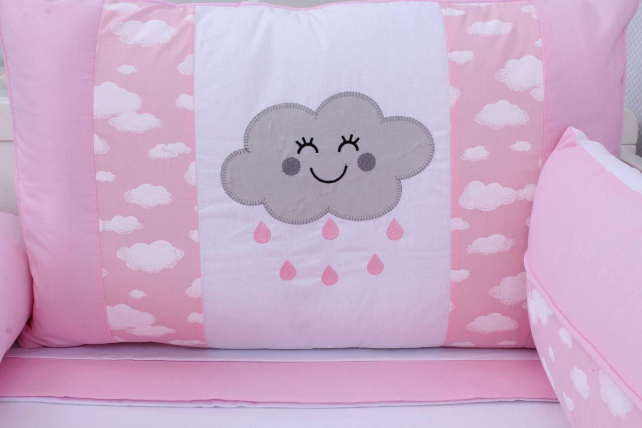 Kit de Berço Nuvem Rosa 09 Peças  - Toca do Bebê