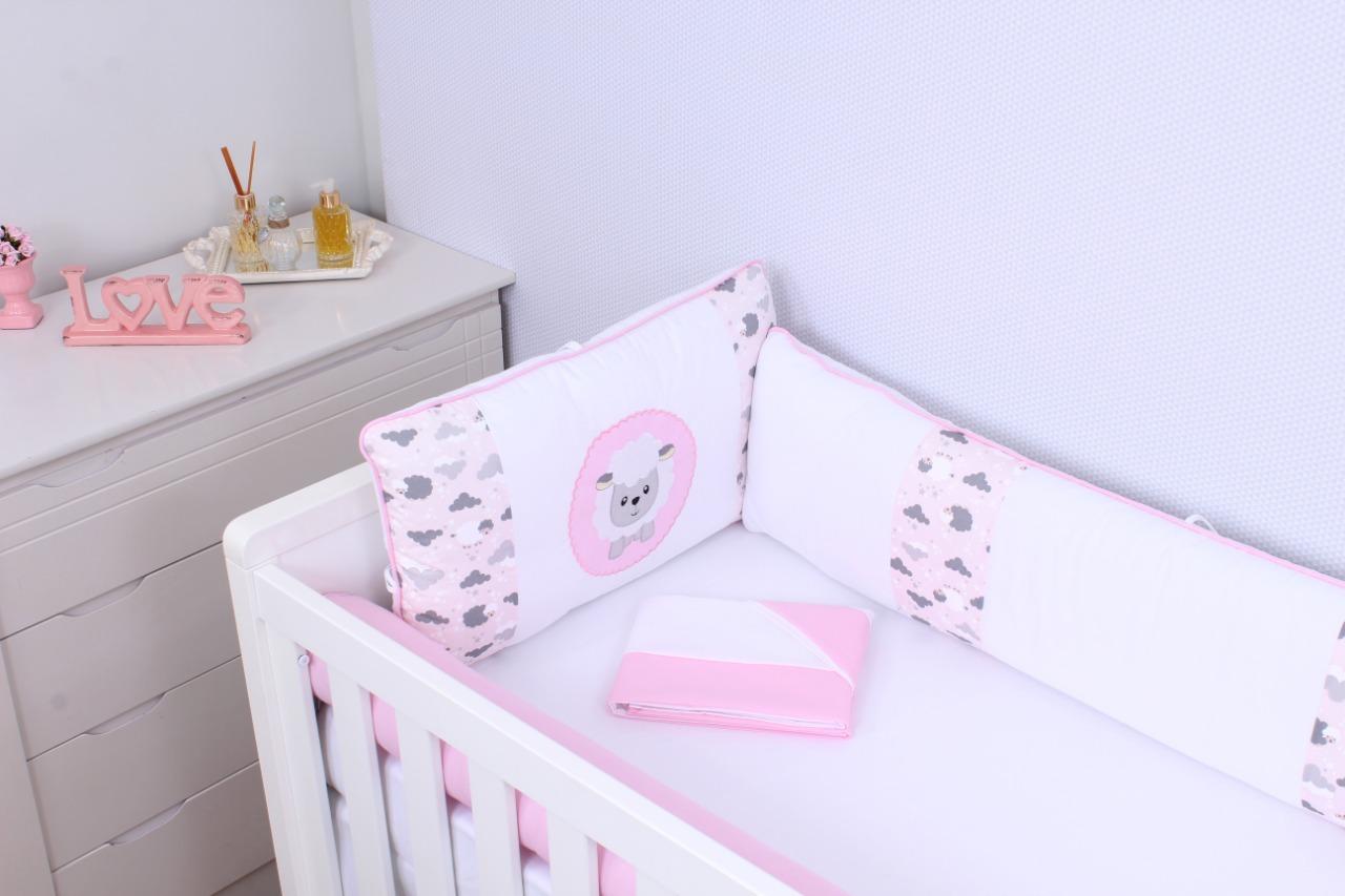 Kit de Berço Ovelha Rosa 08 Peças  - Toca do Bebê
