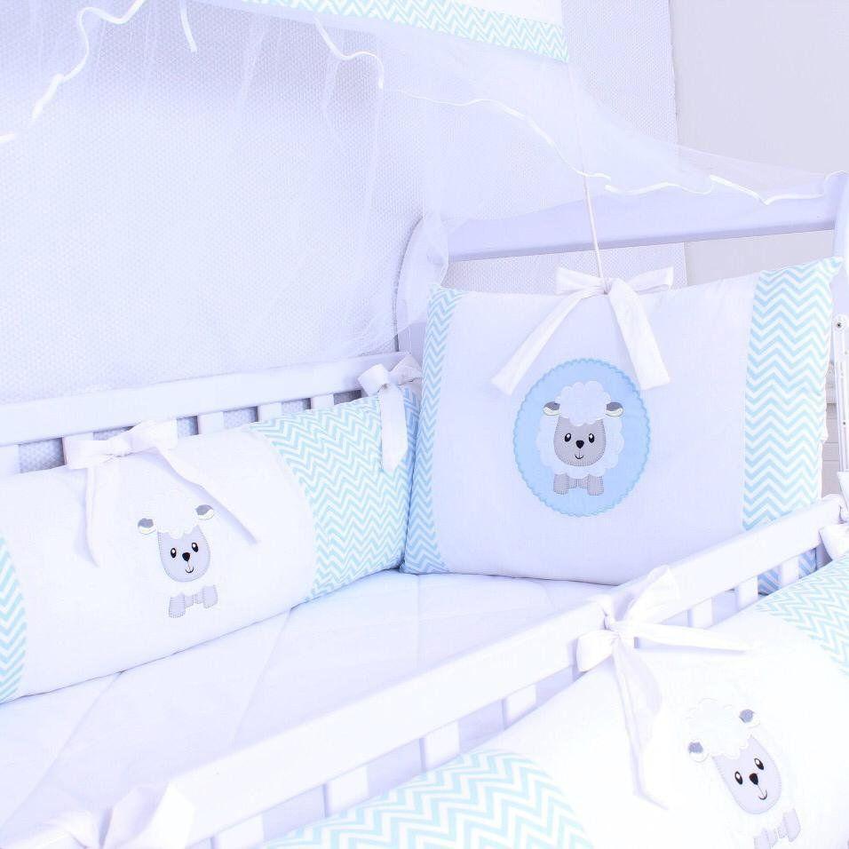 Kit de Berço Ovelhinha Chevron Azul 09 Peças