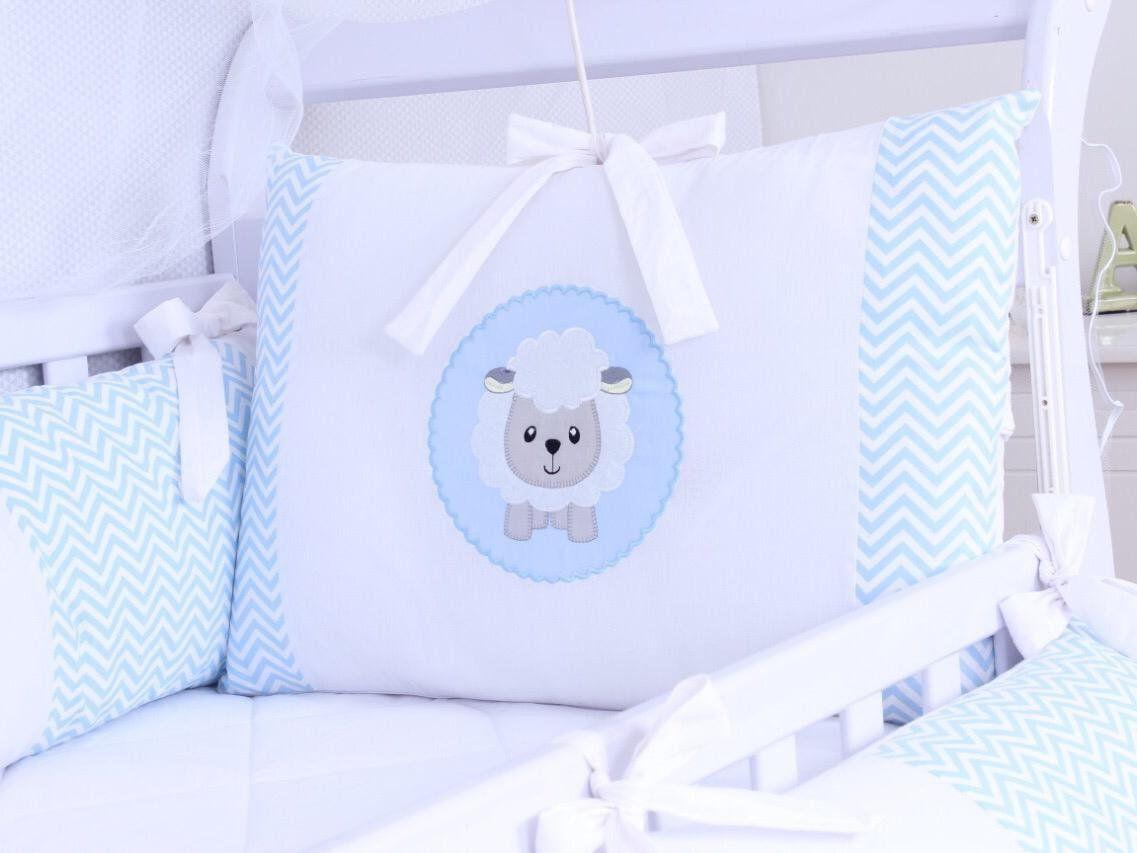 Kit de Berço Ovelhinha Chevron Azul 09 Peças   - Toca do Bebê