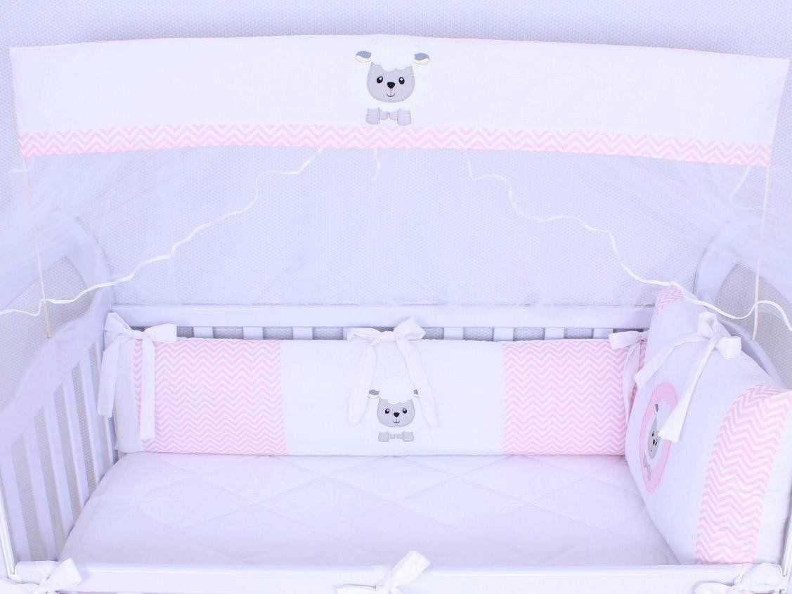 Kit de Berço Ovelhinha Chevron Rosa 09 Peças   - Toca do Bebê