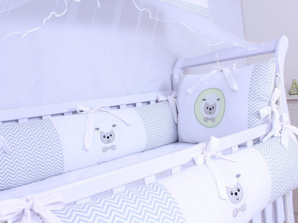 Kit de Berço Ovelhinha Chevron Cinza 09 Peças   - Toca do Bebê