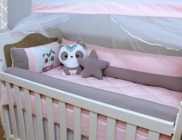 Kit de Berço Panda Índia Rosa 10 Peças  - Toca do Bebê