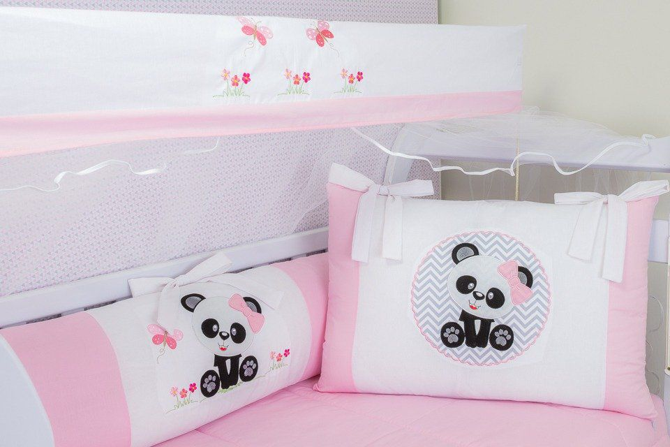 Kit de Berço Panda Baby Rosa 09 Peças