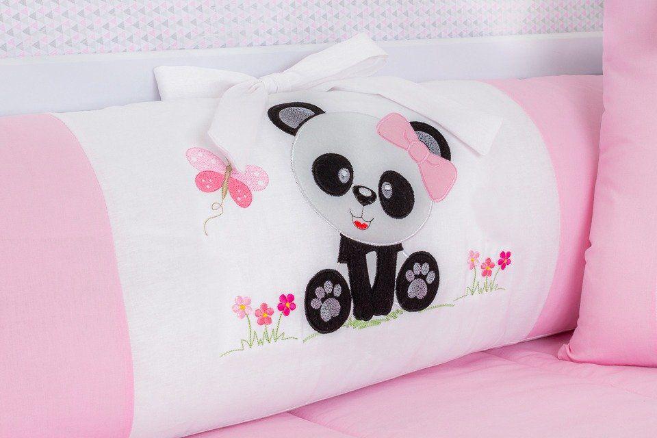 Kit de Berço Panda Baby Rosa 09 Peças   - Toca do Bebê