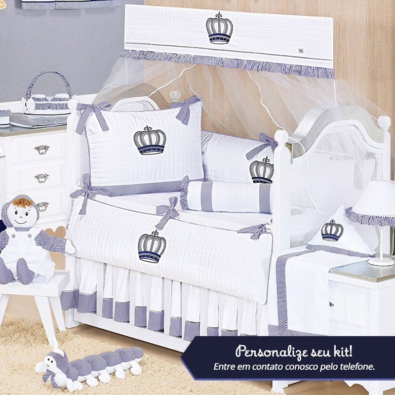 Kit de Berço Personalizado Realeza Marinho 09 Peças  - Toca do Bebê