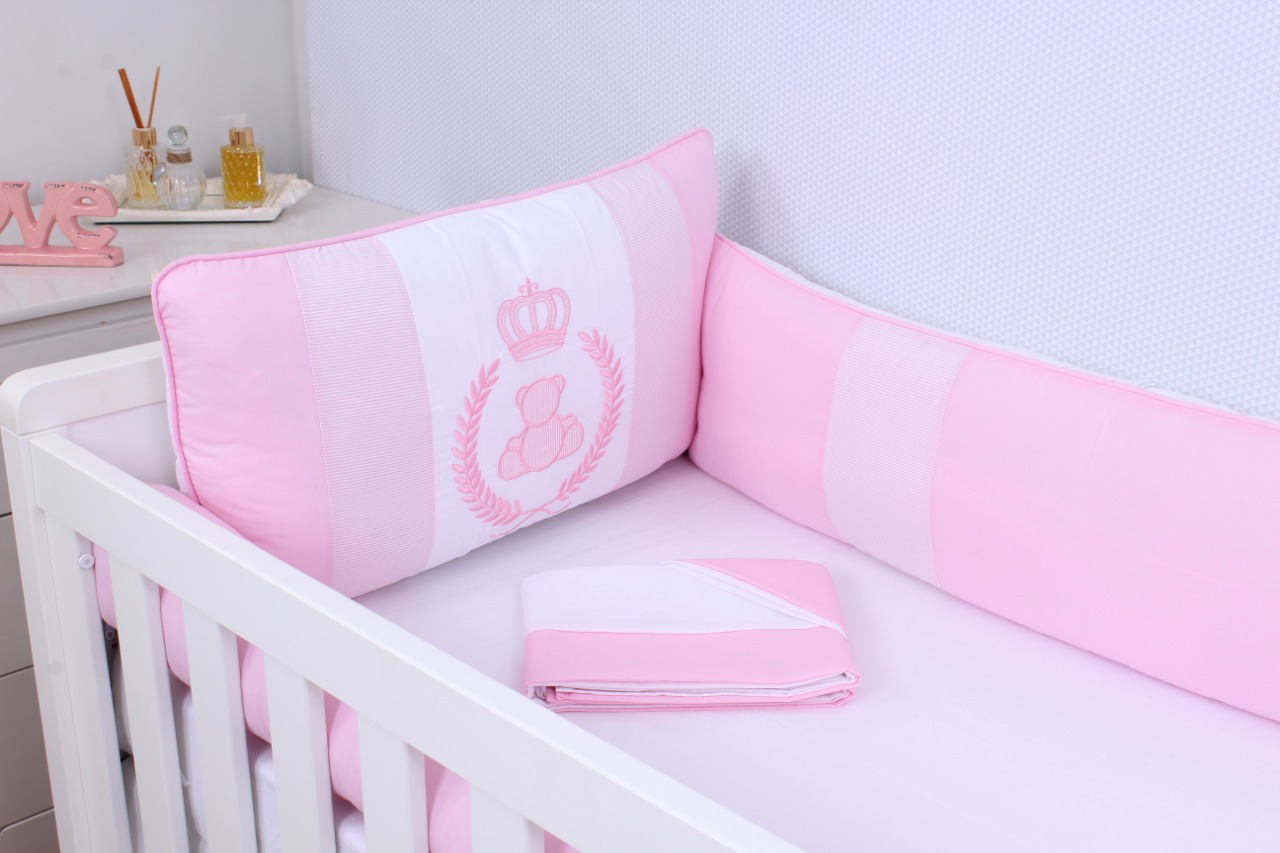 Kit de Berço Princesa Rosa 08 Peças  - Toca do Bebê