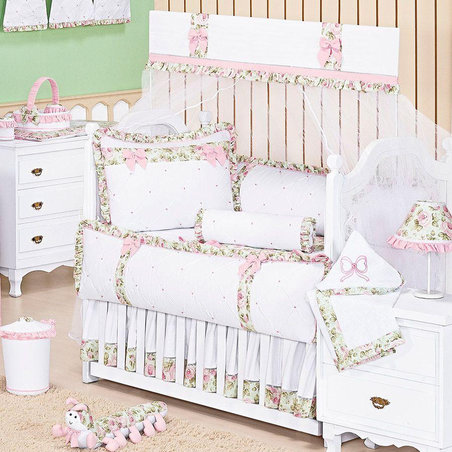 Kit de Berço Provençal 09 Peças Branco  - Toca do Bebê