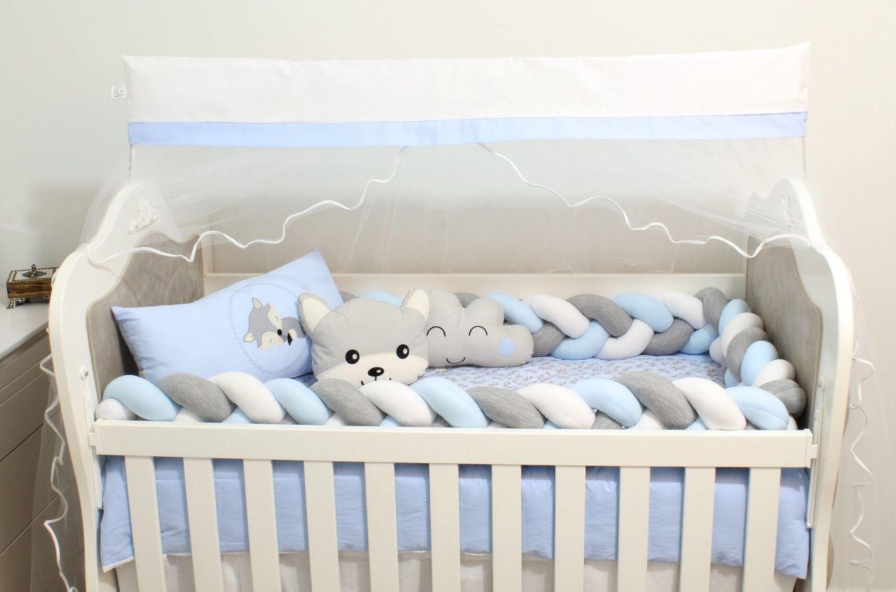 Kit de Berço Raposa Azul 08 Peças  - Toca do Bebê