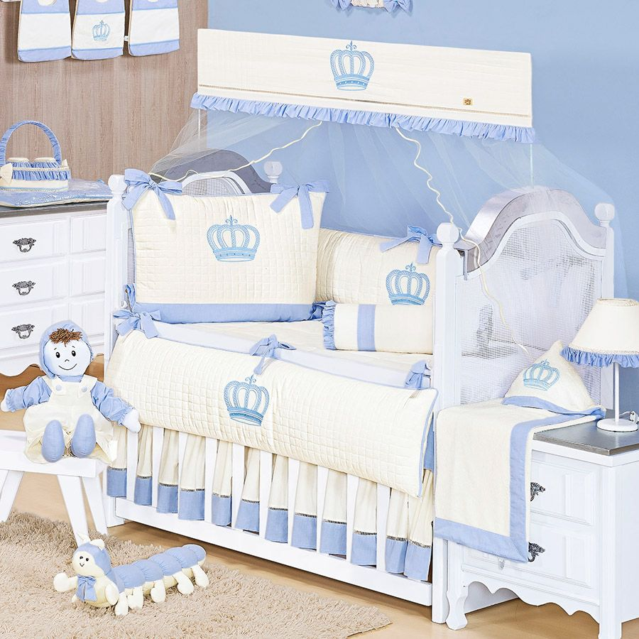 Kit de Berço Realeza Azul 09 Peças  - Toca do Bebê