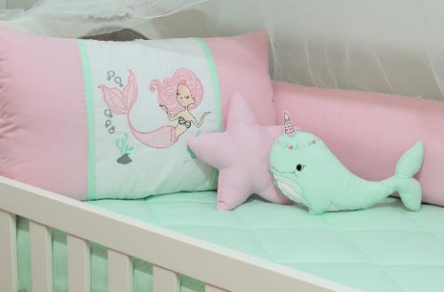 Kit de Berço Sereia Alana 10 Peças  - Toca do Bebê