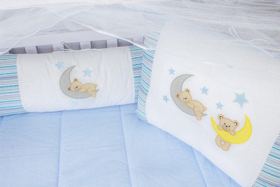 Kit de Berço Soninho Azul 09 Peças   - Toca do Bebê