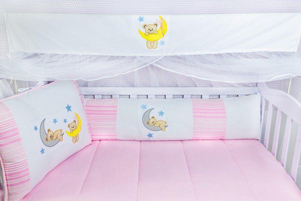 Kit de Berço Soninho Rosa 09 Peças  - Toca do Bebê