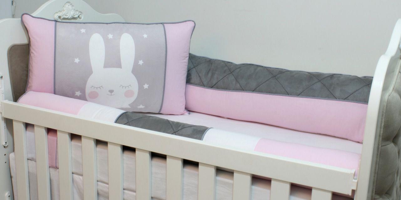 Kit de Berço Sublimado Coelhinha Rosa 07 Peças  - Toca do Bebê