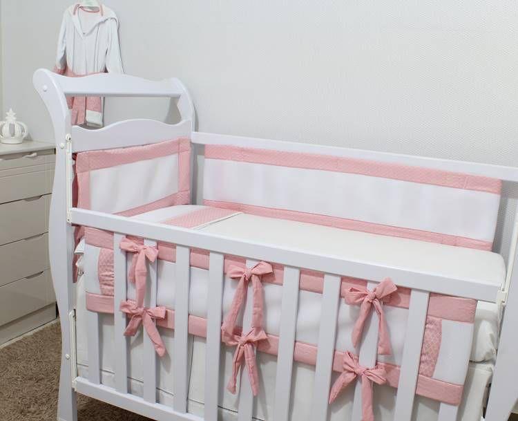 Kit de Berço Tela Respirável Arabesco Rosa Jacard 07 Peças  - Toca do Bebê