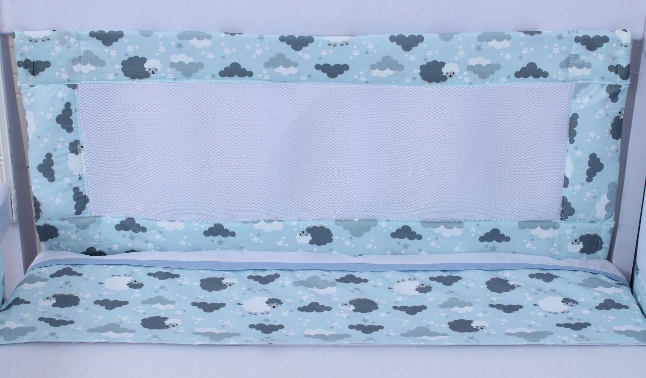 kit de Berço Tela Respirável Ovelha Azul 07 Peças  - Toca do Bebê