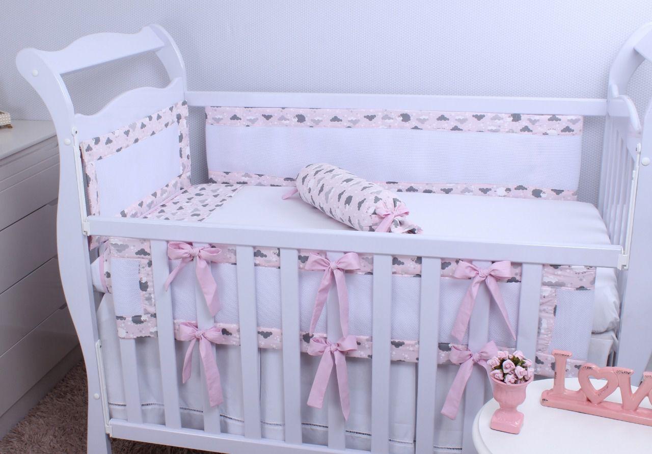 kit de Berço Tela Respirável Ovelha Rosa 07 Peças  - Toca do Bebê