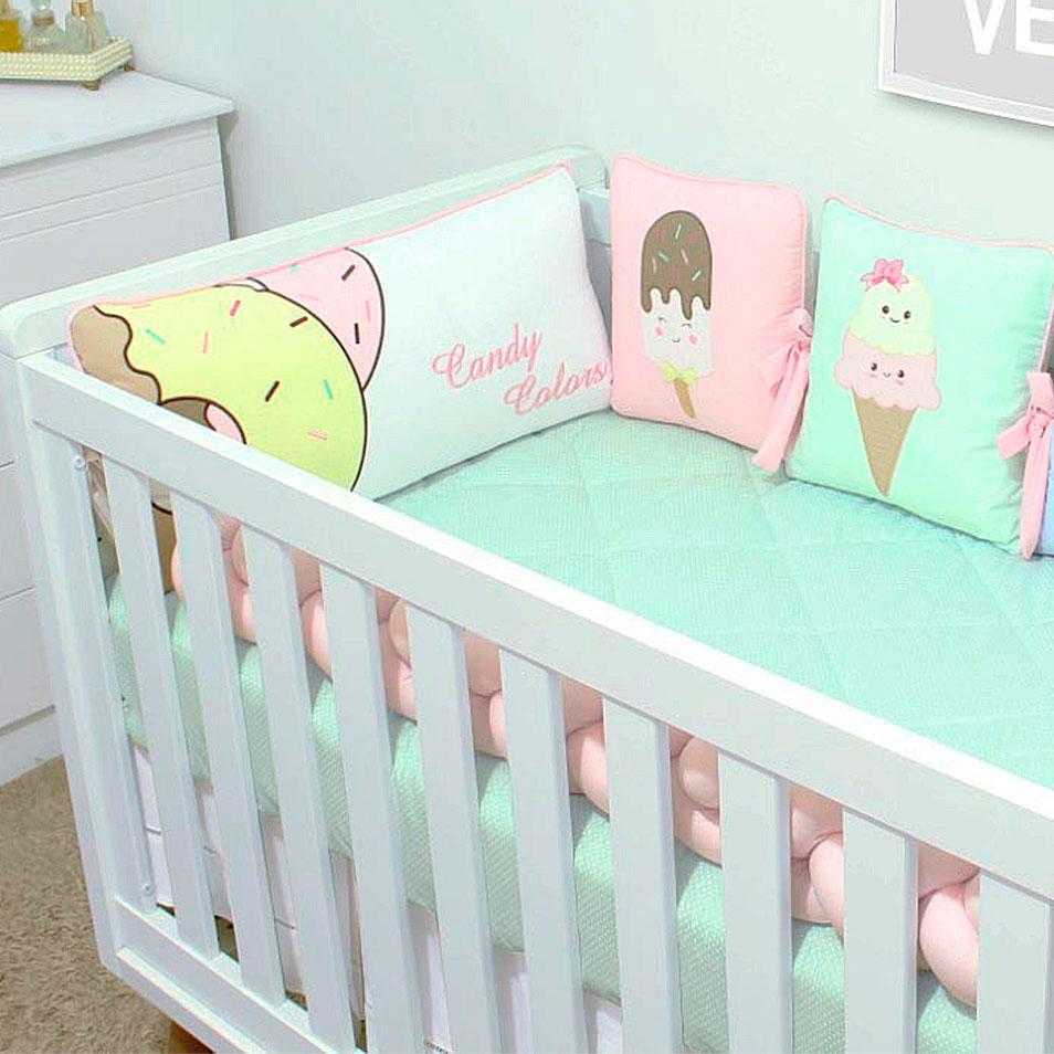 Kit de Berço Trança Almofadinhas Candy Colors 10 Peças  - Toca do Bebê