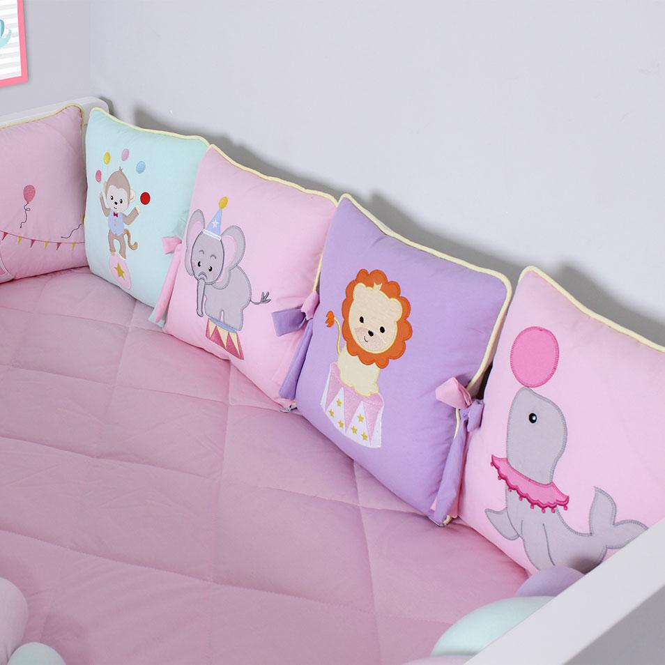 Kit de Berço Trança Almofadinhas Circo 10 Peças  - Toca do Bebê