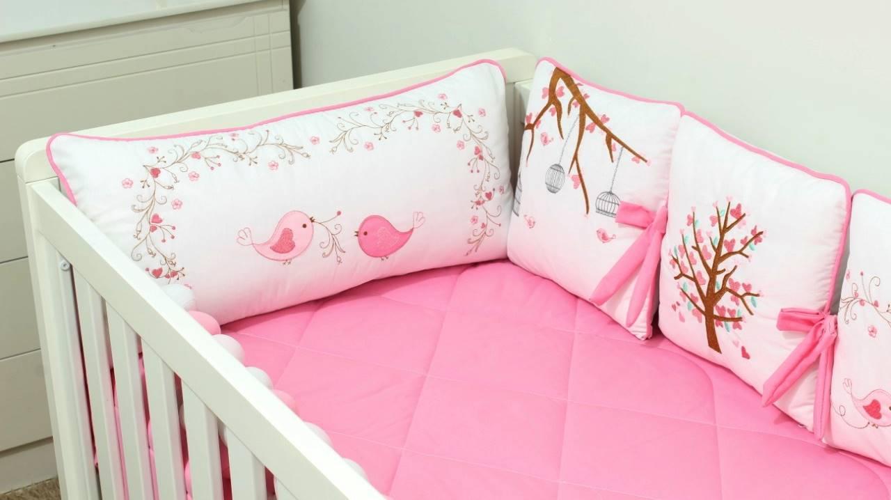 Kit de Berço Trança Almofadinhas Jardim Secreto 10 Peças  - Toca do Bebê