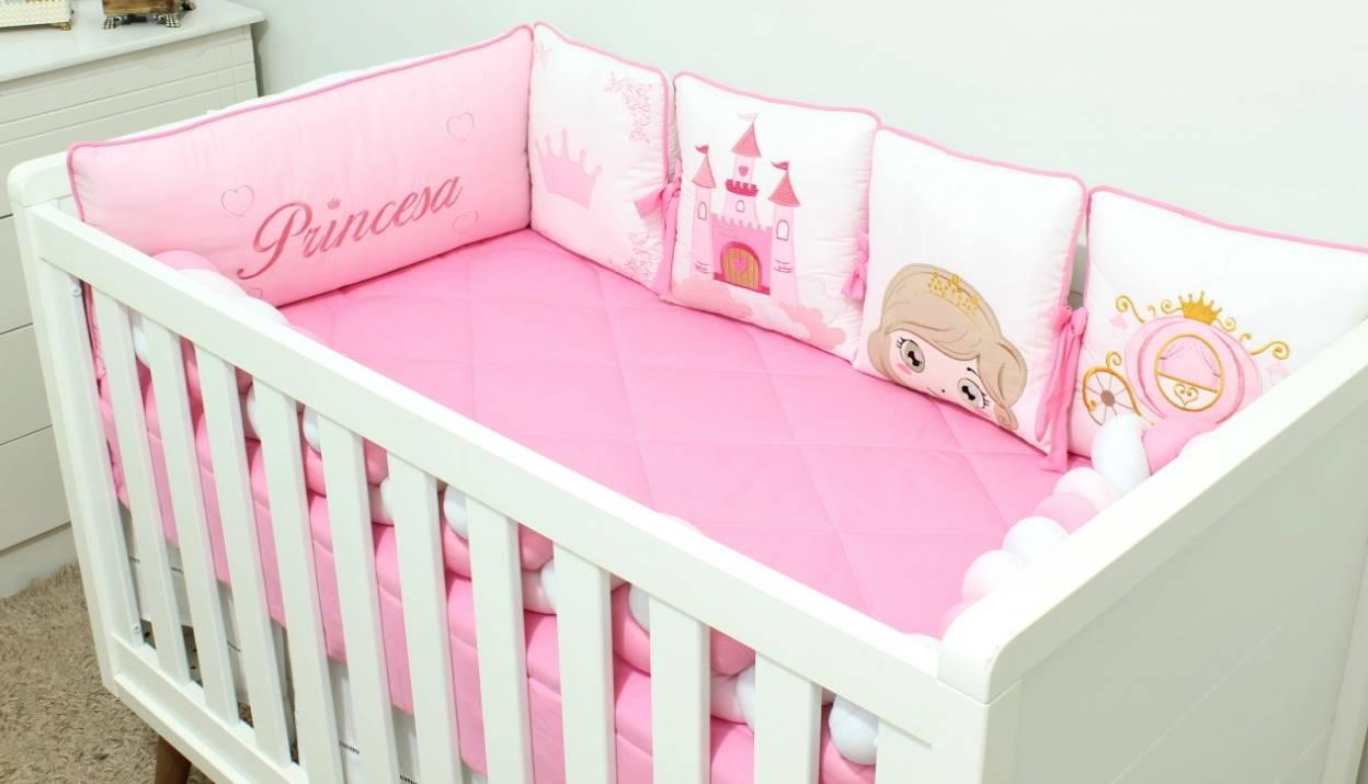 Kit de Berço Trança Almofadinhas Princesa 10 Peças