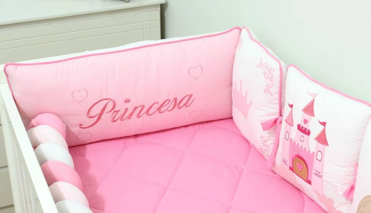 Kit de Berço Trança Almofadinhas Princesa 10 Peças  - Toca do Bebê