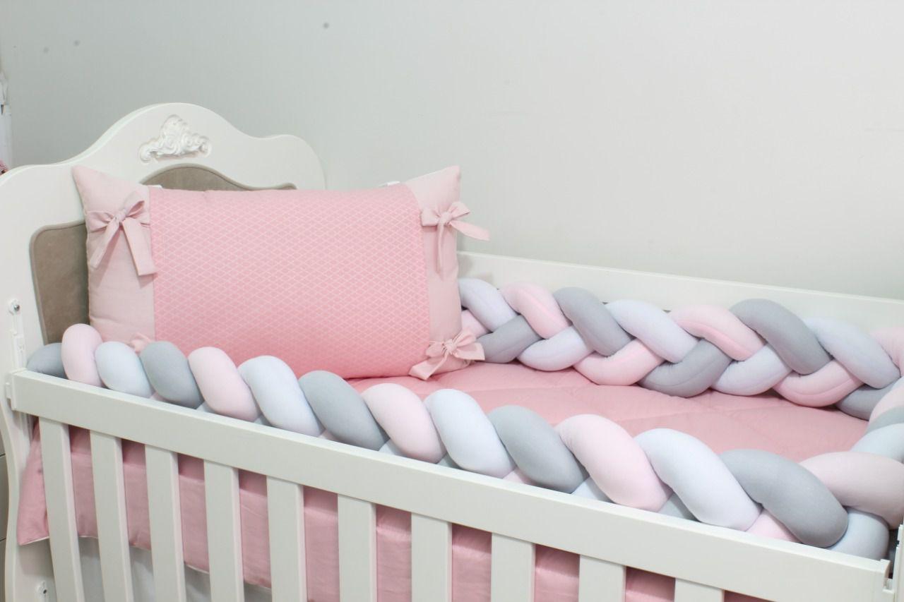 Kit de Berço Trança Arabesco Rosa Jacard 07  Peças  - Toca do Bebê