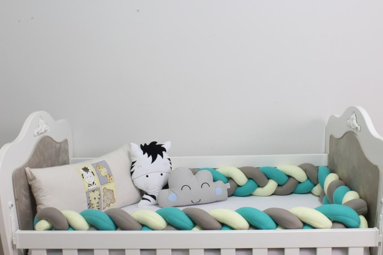 Kit de Berço Trança Baby Zoo 08 Peças  - Toca do Bebê