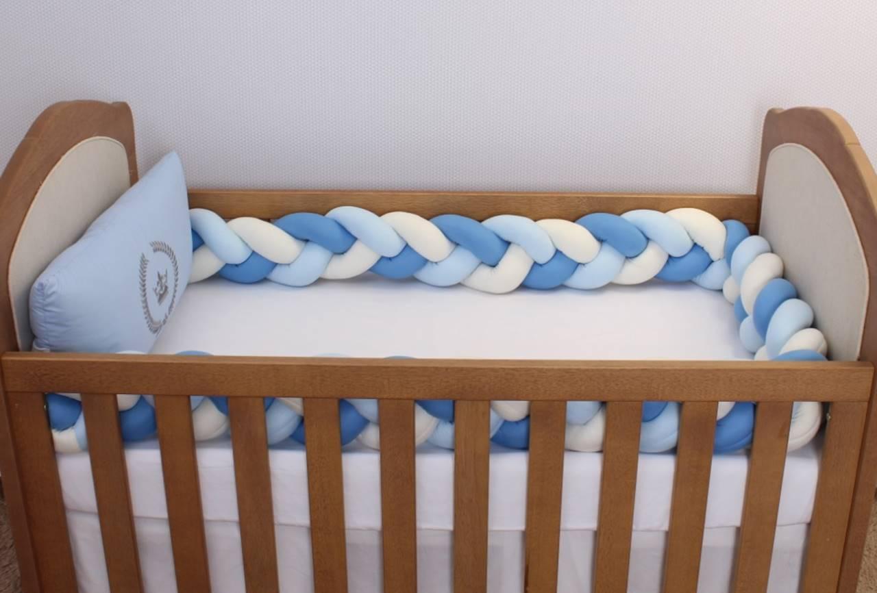 Kit de Berço Trança Coroa Azul 06 Peças  - Toca do Bebê